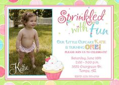 Sprinkles Birthday Invitation digital file by tootlebugdesigns