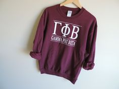 New Gamma Phi Beta  Maroon Stripe Crewneck by WildKardVintage