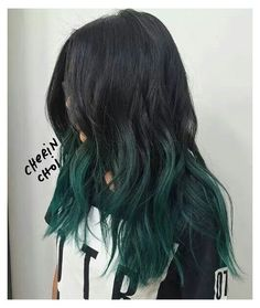 Green Hair Ombre, Black And Green Hair, Emerald Green Hair, Brown Ombre Hair, Green Hair Colors, Ombre Hair Color, Hair Color For Black Hair, Black Ombre, Color Black