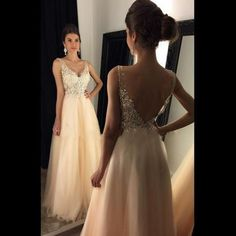 V-Neck A-Line Prom Dresses,Long Pro..