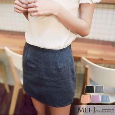 窄裙糖果色懷舊復古風素面窄裙小美日系