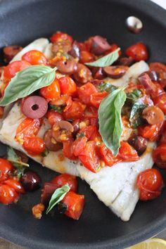 Barramundi with Tomato, Olive, White Wine Sauce Recipe - Little Chef Big Appetite Sauce Recipes, Seafood Recipes, Copycat Recipes, Appetizer Recipes, Barramundi Recipes, White Fish Recipes, Olive Recipes, Quick Weeknight Dinners, Healthy Dinners