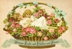 Basket with Children and Flowers  Romantic by ilFioredOro on Etsy, €1.99