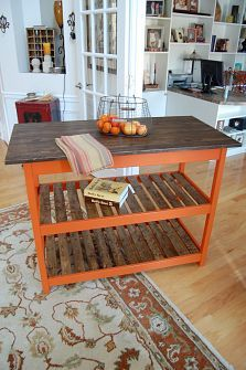 DIY Kitchen Islands :: Lisa Is clipboard on Hometalk :: Hometalk.would love this but would need to be red for my kitchen! Diy Kitchen Island, New Kitchen, Kitchen Countertops, Kitchen Carts, Kitchen Signs, Kitchen Storage, Kitchen Ideas, Orange Kitchen, Outdoor Kitchen Design