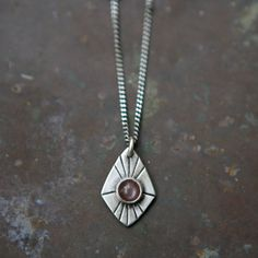 Radial Spade Necklace - Chocolate Moonstone Charm