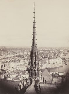 "Charles Marville, (French, 1813–1879). Spire of Notre Dame, Viollet-le-Duc, Architect, 1859-1860. The AIA/AAF Collection, Prints and Photographs Division, Library of Congress, Washington D.C. | This photograph is featured in ""Charles Marville: Photographer of Paris,"" on view through May 4, 2014. #paris"