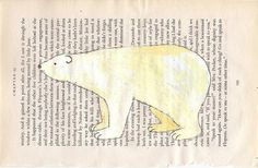 polar bear painting on text.  i could potentially use this as an idea for my end project.