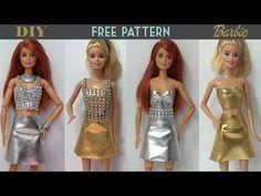 How to make Barbie Doll Dress 👗 Skirt & Top - Free Pattern Barbie Patterns, Doll Clothes Patterns, Clothing Patterns, Barbie Dolls, Barbie Stuff, Sewing Barbie Clothes, Diy Clothing, Dress Skirt, Nice Dresses