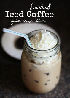 Iced coffee, crazy quick... Note I will use the homemade coffee creamer we almost always have in the fridge.