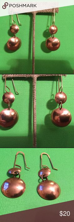 Double Copper Shield Dangle Earrings A-2-54 Handmade natural copper concave polished shields with handmade hammered copper wires. Handmade by HM Simon Jewelry Earrings