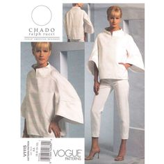 Chado Ralph Rucci Pattern Vogue 1115 Funnel Neck Top, Above Ankle Pants Designer Size 6 8 10 12