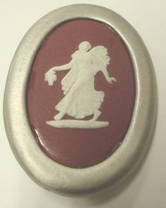 "Authentic Wedgwood- Oval Pin- ""Flora Woman""  Burgundy Jasperware"