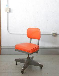 Mid Century Industrial Bright Orange Rolling Steel Tanker Office or Desk Chair - 60s 70s Retro via Etsy