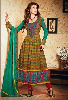USD 58.38 Green Resham Work Anarkali Cotton Salwar Suit 30174