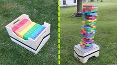 This Jenga set is a perfect backyard game for kids. Complete this using a box or stand and you are ready to play. Diy Jenga Giant, Diy Giant Yard Games, Big Jenga, Giant Outdoor Games, Giant Garden Games, Outdoor Yard Games, Jenga Diy, Large Jenga, Jenga Game