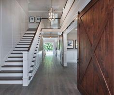 Wainscoting beneath stairway
