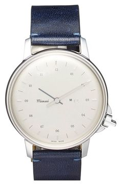 Miansai 'M12' Leather Strap Watch, 39mm