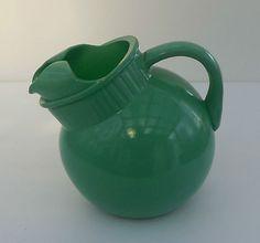 Fire King Rainbow fired-on jadite jadeite green juice ball tilt pitcher NICE!