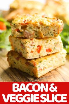This quick, easy and healthy Zucchini and Bacon Slice is so versatile. Meal prep a batch for the week and use it for breakfast, lunch or dinner! This zucchini slice with bacon is great served hot or cold, so you can also pop it into kids lunch boxes. Lunch Box Recipes, Breakfast Recipes, Breakfast Dishes, Brunch Recipes, Lunch Ideas, Dinner Ideas, Kebabs, Healthy Zucchini, Zucchini Slice