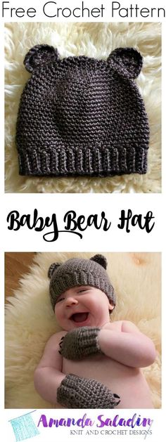 Crochet a sweet little baby bear hat for a little one in your life with this free crochet pattern in two sizes by designer Amanda Saladin. Crochet Baby Hats Free Pattern, Crochet Baby Blanket Beginner, Crochet Baby Beanie, Baby Hat Patterns, Crochet Bebe, Crochet For Kids, Cute Crochet, Crochet Patterns, Crochet Hats