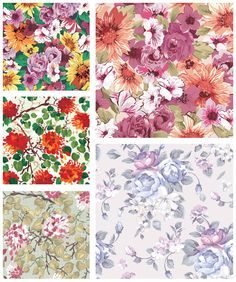 "Set of 5 vector summer seamless flower patterns with decorative painted flowers, floral ornaments and nature motives for your card designs, decorations, floral banners or brochures. Format: EPS stock vector clip art and illustrations. Free for download. Set name: ""Summer…"