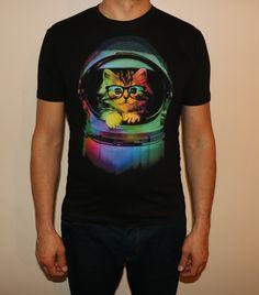little kitten in a space hemet, custom printed T shirt, graphic design, street art by Tees4u16 on Etsy