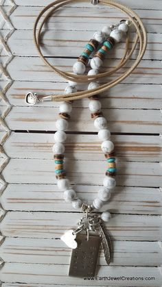 Inspirational affirmation energy combined with White Howlite gemstone energy. Handmade in Noosa, Australia. Yoga Jewelry, Gemstone Necklace, Crystal Jewelry, Handmade Jewelry, Vegan, Gemstones, Jewellery, Personalized Items, Crystals