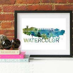 Watercolor Skyline Watercolor Skyline Watercolor Art Watercolor Florida Watercolor Gift Florida Coast 30A Watercolor Florida, Watercolor Walls, Watercolor Animals, Cityscape Art, Skyline Art, Couple Gifts For Her, Grandparent Gifts, Baby Nursery Decor, Gifts For Father