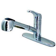 Kingston Brass Century Chrome 1-Handle Deck Mount Pull-Out Kitchen Faucet Wlgs881nclsp