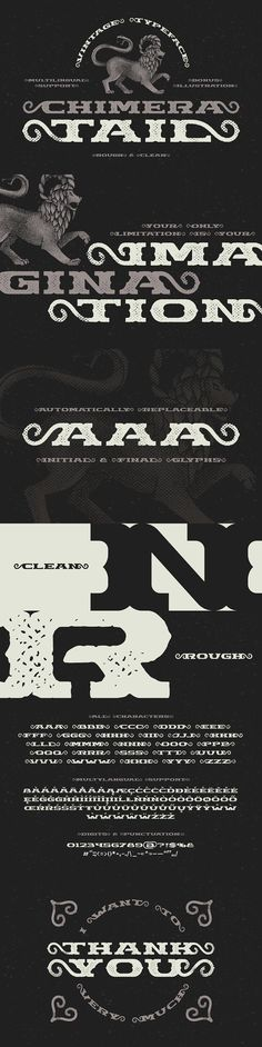 """Presenting a vintage dark font """"Chimera Tail"""". It's a wide textured typeface with automatically replaceable initial and final extended characters. Ttf Fonts, Gothic Fonts, Chimera, Cool Fonts, Initials, Display, Illustration, Floor Space, Billboard"""
