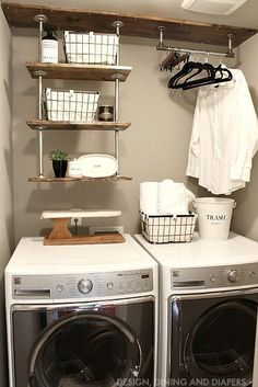 Laundry room makevover for under 250 with diy rustic industrial diy laundry room shelving get this farmhouse look solutioingenieria Images
