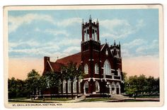 This wonderful vintage postcard dates to circa 1930's and shows St. Cecilia's Church at Hastings, Nebraska. Card number A-56802. Published by C.T. American Art. Card is unused. Condition is good with