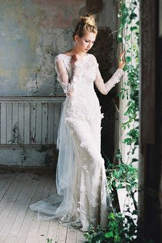 Wedding gown by Romantique by Claire Pettibone.