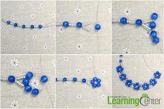 make the blue beaded flower
