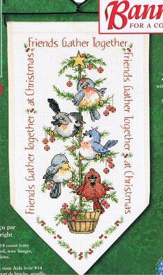 Schema punto croce Albero Con Uccellini 01