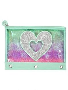 Ombre Heart Pencil Case   Girls Ombre Sequin Backpacks & Supplies   Shop Justice