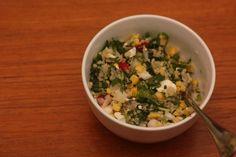 Quinoa Salad with Arugula, Radishes, and Corn...i'll be leaving out the feta....or make tofu feta...