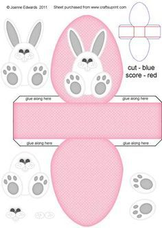 Easter Bunny Box PINK on Craftsuprint designed by Joanne Edwards - Approx internal size once completed to fit a fondant filled egg. Just add shredded tissue paper inside to pad around the egg. Leave as it is, or attach a card/ribbon handle, or punch holes at the top to thread a ribbon through and tie a bow, which will stop the egg from falling out. Great little treat box project for children.Other box colours available are BLUE or YELLOW.Also have bunny step by step toppers in several ...