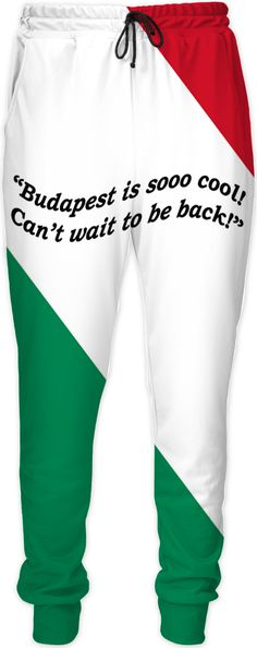 Custom Joggers: Your fashionable, flamboyant Souvenir directly from Budapest proves: You travel the World, you are really not a couch potato!  Budapest, Hungary, Salami, Tokajer, fashion, travel, souvenir, holiday, gift, love, great, present, novelty, World, apparel, extra, OMG, BFF, couch potato, humour, gag, cool, Miniskirt, cover, cellphone, I-Phone, laptop, computer, mug, glas, kitchen, sexy, picture, wall, Christmas, birthday, Valentine's day, Easter, Halloween, music, Pin, Pinterest