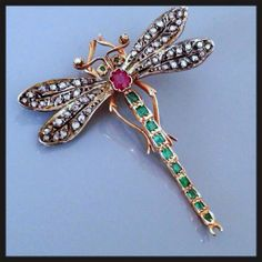 | Rare Antique Art Nouveau Diamond Emerald Ruby 14K Gold Dragonfly from ...
