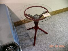 steering wheel end table and other auto art ideas