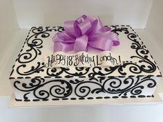 Black viney piping sheet cake minus the bow Birthday Cake For Women Elegant, Pretty Birthday Cakes, Birthday Sheet Cakes, Birthday Cakes For Women, Pretty Cakes, Cake Birthday, 85th Birthday, Princess Birthday, Cake Piping