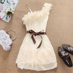 Stylish and Delicate Sweety Ruffles One-shouldered Chiffon Dress $9