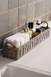 Rustic Rattan Rectangular Basket....ideal for the bathroom.