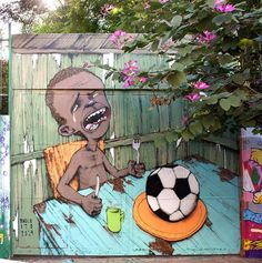 Renowned street artist Paulo Ito's powerful anti-FIFA mural at a school in Sao Paulo, Brazil illustrates the nations growing discontent with money spent hosting the World Cup. Street Art Utopia, Street Art Graffiti, Street Mural, Banksy, Fifa, Graffiti Piece, Graffiti Painting, Culture Art, Urbane Kunst