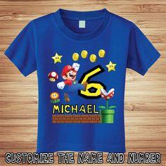 Super Mario Brothers Birthday T Shirt door PersonalizedBirthday