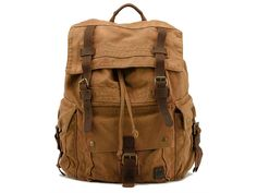 Large Canvas Leather Hiking Outdoor Travel Backpack