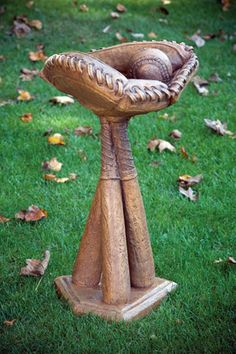 Baseball Birdbath - uhhh, I think this is a must for the backyard