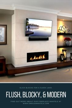 Modern linear fireplace mantels from Omega