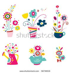 Cute assortment of flowers in vases with various shapes, teapot, watering can.